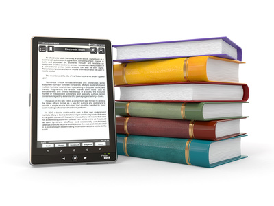 E-book reader. Books and tablet pc. 3d